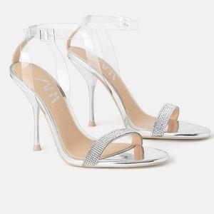 Zara bejeweled high heel sandals sz 10 NWT